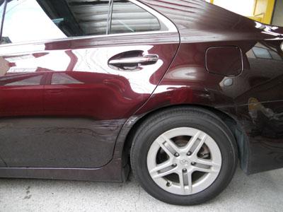 トヨタ・SAI 左リヤドア、リヤフェンダー板金塗装